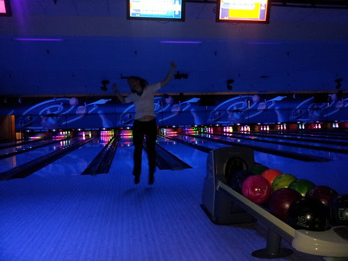 Sarah's bowling victory leap