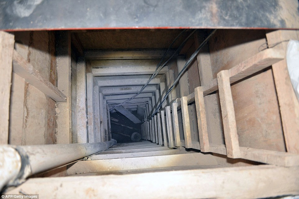Escape route: The tunnel through which Mexican drug lord Joaquin 'El Chapo' Guzman fled in July after his accomplices worked for months to set him free