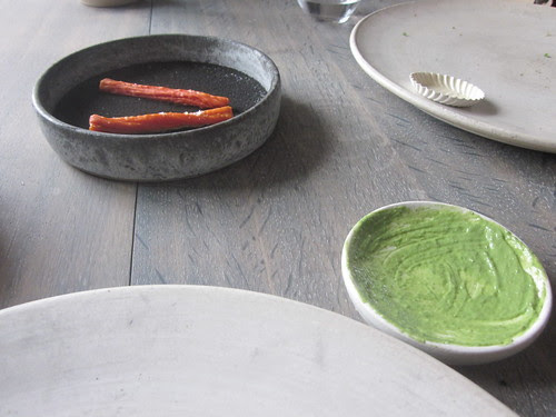 Noma - Copenhagen - August 2012 - Grilled Dried Carrot on Ash and Sorrell Emulsion