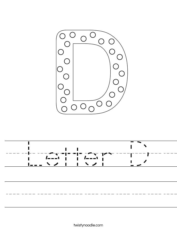 Letter D Worksheet - Twisty Noodle