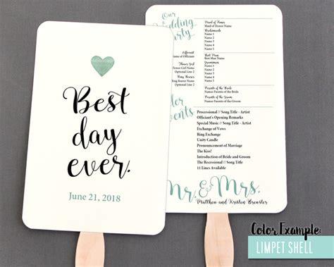 day  wedding program fan cool colors