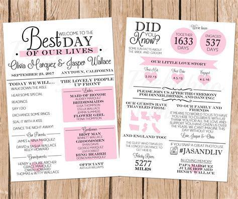 Infographic Wedding Program, Fun Wedding Program
