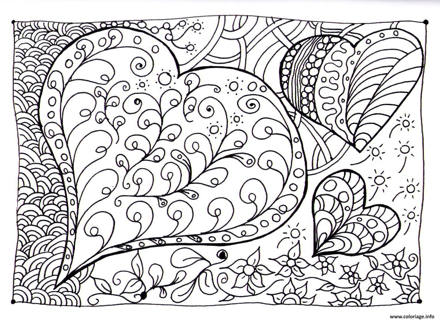 Coloriage Coeur Zen Dessin  Imprimer