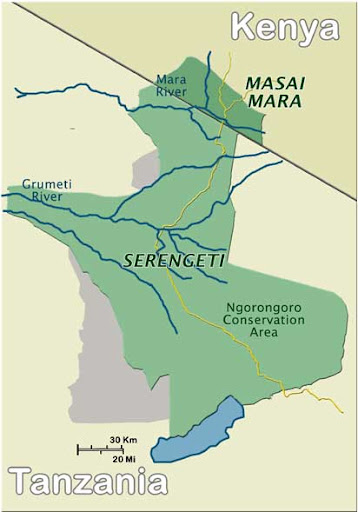 Image result for serengeti and masai mara map