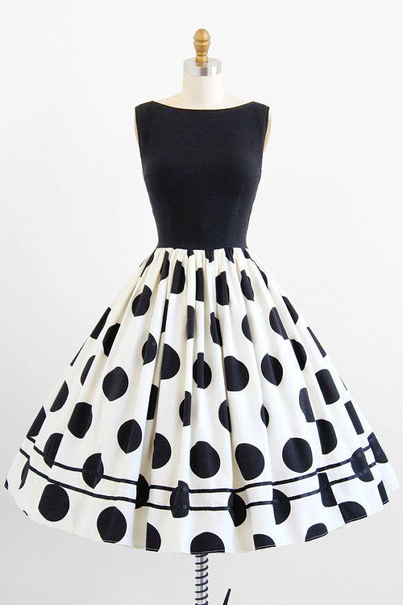 1950's Black and White Dress