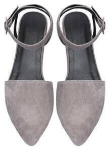Grey Point Toe Ankle Strap Suede Flats