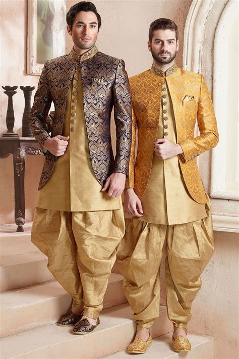 Navy Blue Zari Embroidered Brocade Indo Western Sherwani