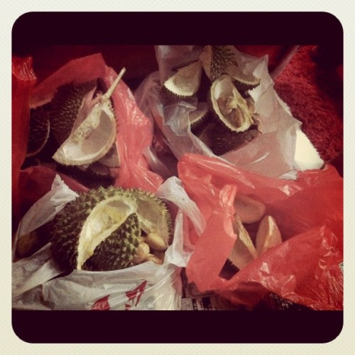 The amt of durian we disposed everynight. :X (Taken with instagram)