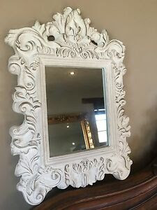 Large Antique White Oval Decorative Rococo Mirror With Acorn Detail Ebay