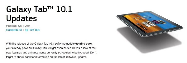 Galaxy Tab 10.1 Update