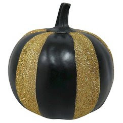 Halloween Spooky Decor Pumpkin - Small - Black/Gold Sparkly Stripes