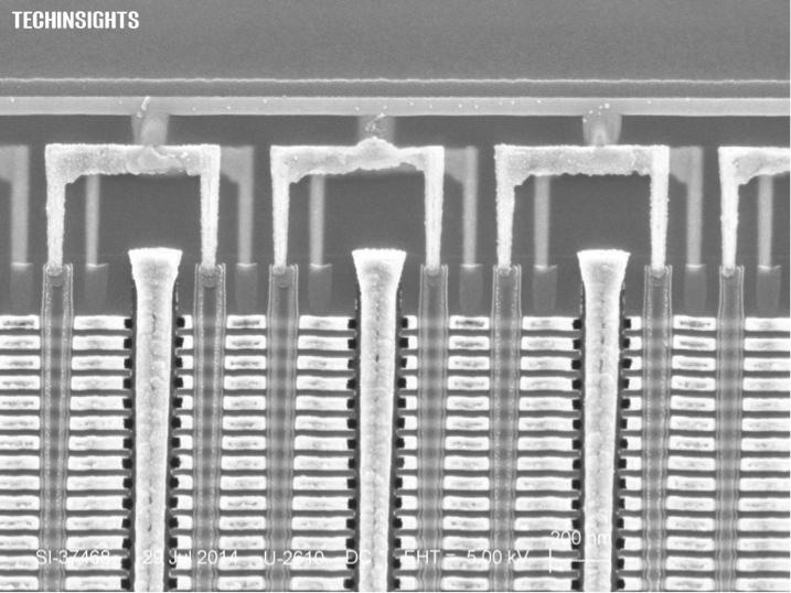 Figure 4: Cross section of Samsung's 86 Gbit 32-layer 2nd generation V-NAND at the top of the stack (courtesy Techinsights).
