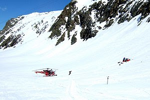A mountain rescue team operating at Alpe d'Hue...