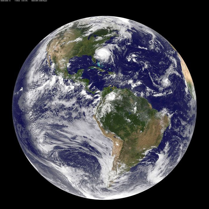 A global image of Earth taken by the GOES-13 weather satellite on August 26, 2011.