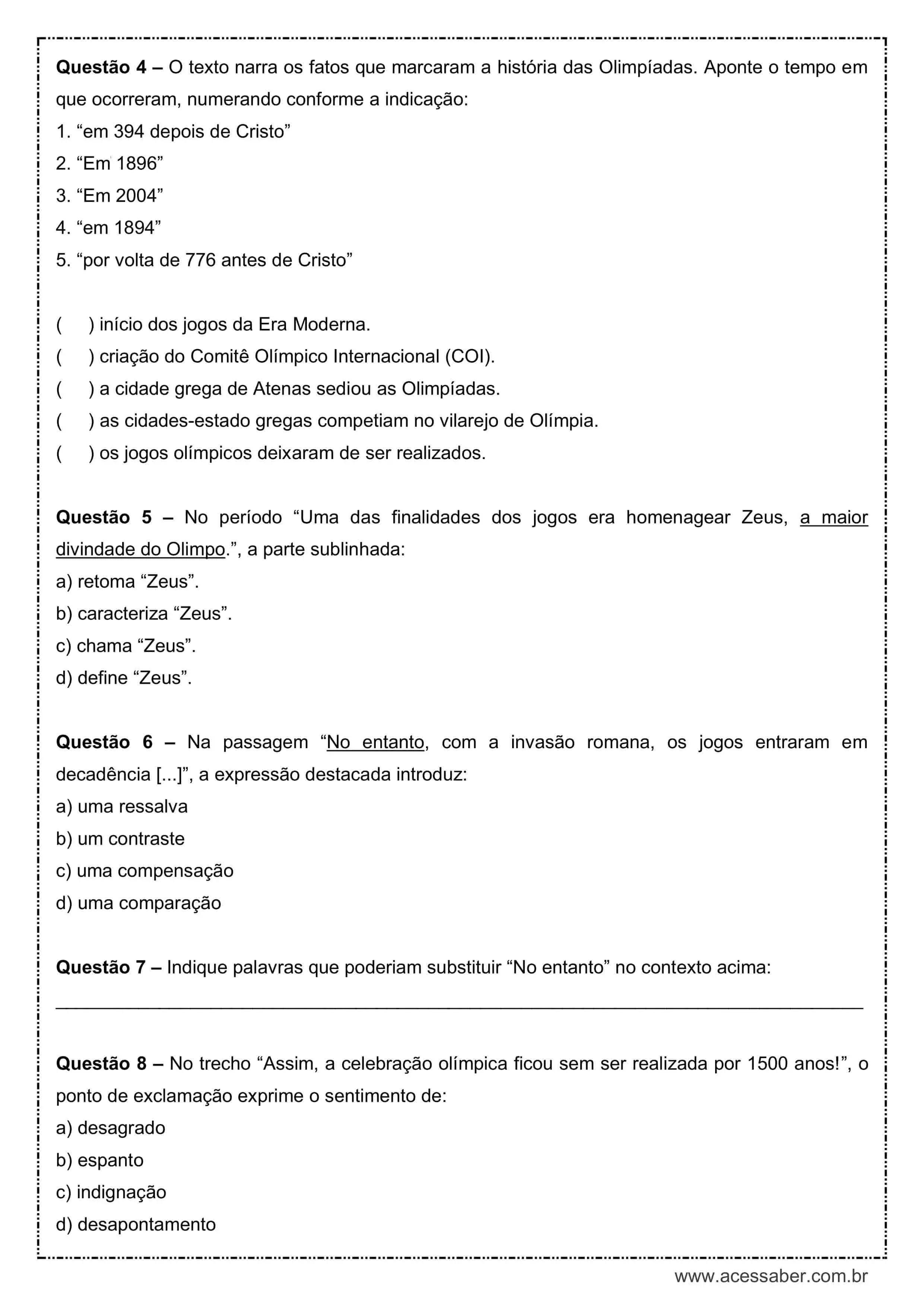 Interpretacao De Texto Historia Das Olimpiadas 6º Ano Acessaber