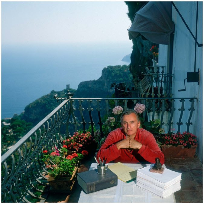Gore Vidal - Writer at Work in Home Ravello Italy Photo Slim Aarons