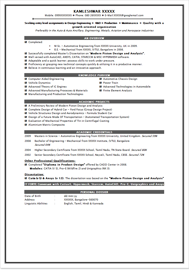 Job Resume Format For Freshers Pdf Best Resume Examples