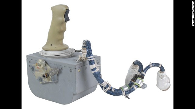 """Dozens of artifacts from Apollo lunar missions will go on sale Thursday in an online auction. Among them: This hand controller from the Apollo 15 Lunar Module """"Falcon,"""" which was used by Commander Dave Scott to help land him and pilot James Irwin on the moon on July 30, 1971. Starting bid: $10,000."""