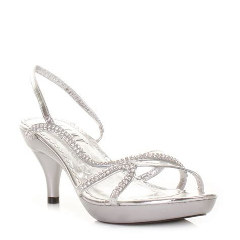 WOMENS LOW HEEL SILVER STRAPPY SLINGBACK PARTY PROM LADIES