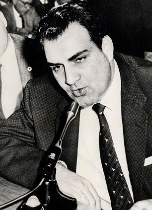 Notorious: Private detective Fred Otash on the stand before a state legislative committee in Los Angeles about photographs he ordered several of his employees to take of actress Anita Ekberg