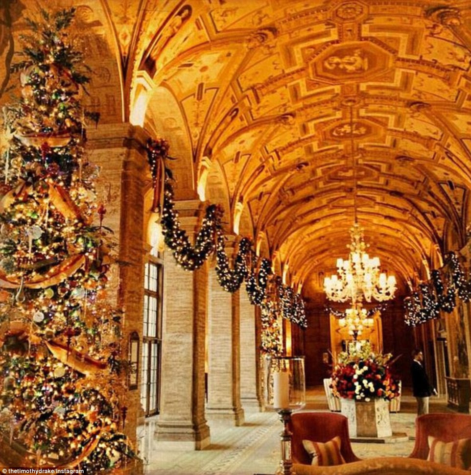 Meanwhile Timothy Drake said he was struck away from family with the 'Palm Beach Plague', lounging in what looked to be a luxurious hallway extravagantly decorated for the holidays in the wealthy Florida town