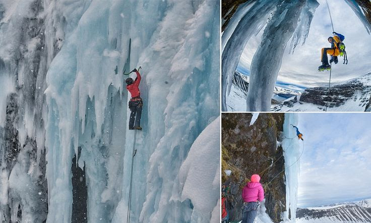 Ice climbers inch their way up crystal-blue frozen waterfalls