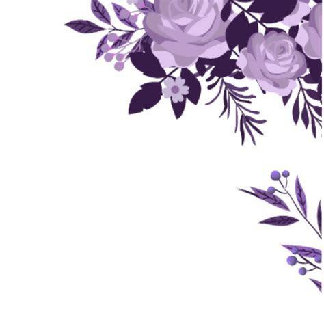 ftestickers watercolor flowers border corner purple