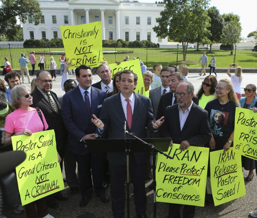 U.S. Senator Ted Cruz delivers his remarks with members of the Christian Defense Coalition in front of the White House in Washington September 26, 2013. The event marked the one year anniversary of Saeed Abedini, (Photo: Gary Cameron/Reuters/Newscom)
