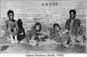 Photograph of opium smokers from Smith, 1908