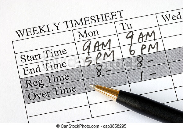Stock Images of Filling the weekly time sheet for payroll ...