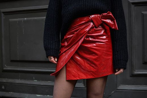 Le Fashion Blog Tie Waist Patent Leather Red Skirt Black Chunky Sweater Via Fashion Vibe