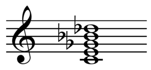 Altered chord on C with flat 5th, 7th, and 9th...