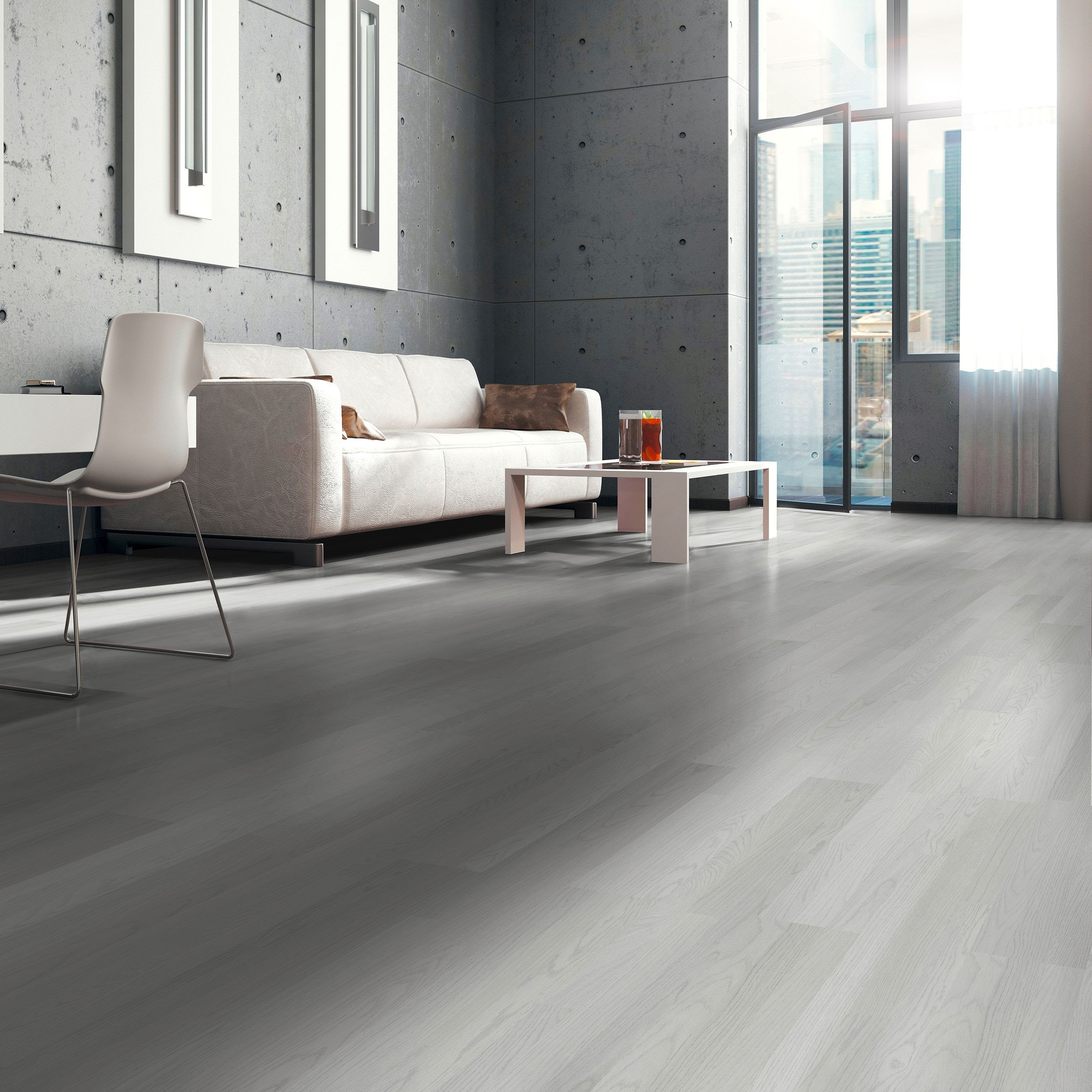 Whitewash Oak White Wood Effect Laminate Flooring 3 m² ...