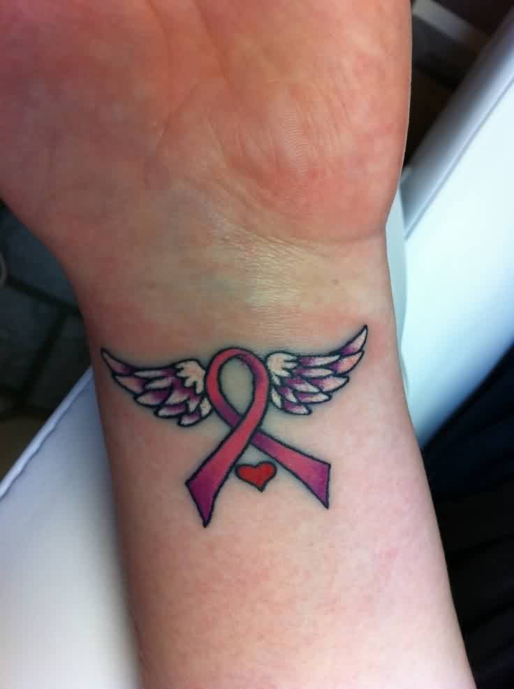 Pink Cancer Ribbon With Wings Tattoo 2019 Tattoos Ideas