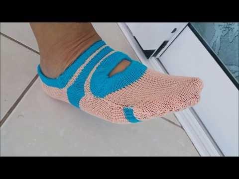 Sapatilha Pilates, em tricô na máquina de tricotar