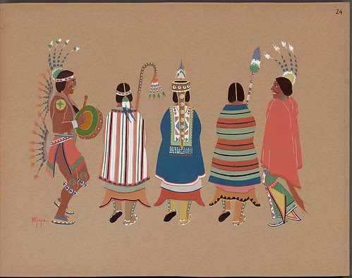 Squaw dance - native American illustration