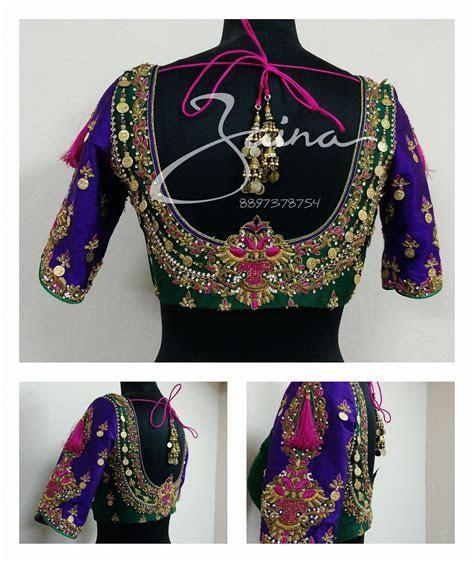 Stunning bridal designer blouse with floret lata design