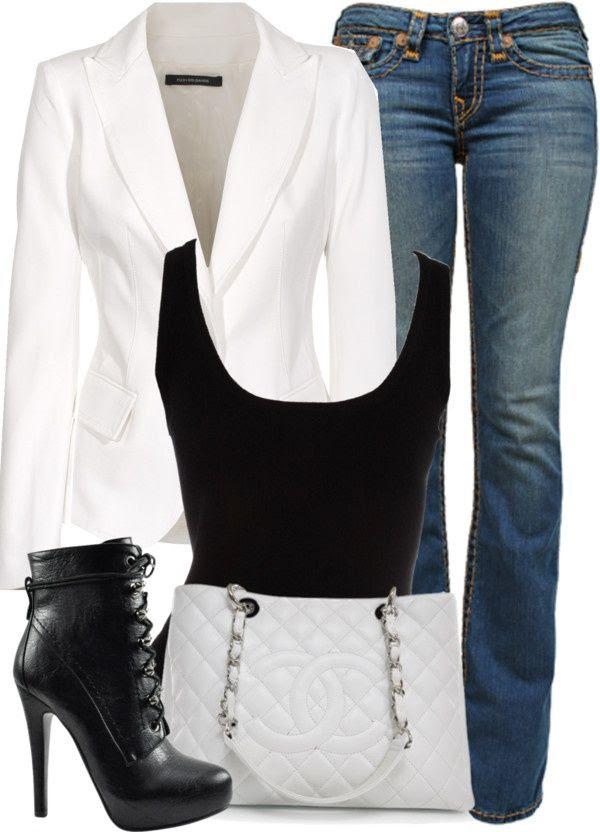 "Pinterest Fashion white blazer | White Blazer, Black Tank Top, and Blue Jeans"". | Outfits"