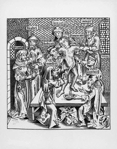 German Illustration of The Martyrdom of Saint Simon of Trent after a Woodcut by Wohlgemuth