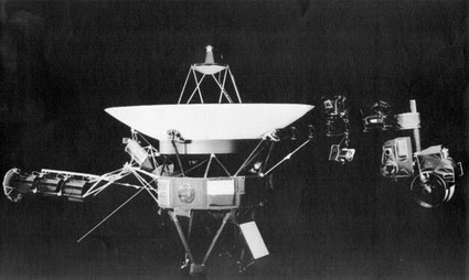 This is a handout photo from the Jet Propulsion Lab showing the Voyager spacecraft. On right side of the craft is girder-like boom which holds science project equipment and imaging camera.