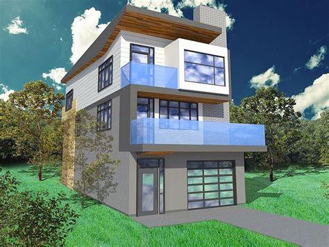 narrow lot house plan   modern  busy