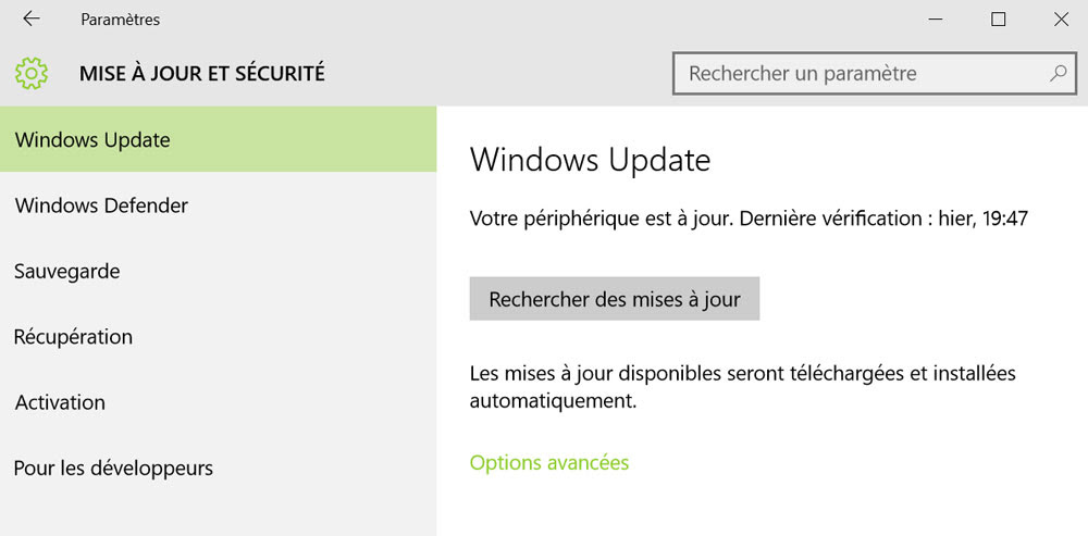 windows 10 mode mise a jour