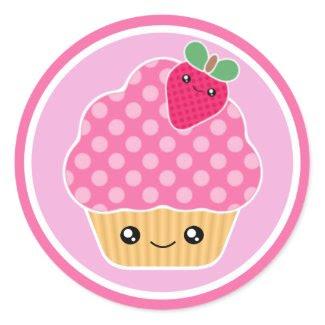 Pink Strawberry Kawaii Cupcake Stickers sticker