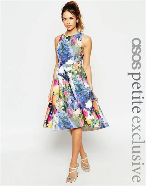PETITE Premium Prom Dress In Floral Scuba   Dress Up