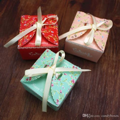 Romantic Wed Favor Box With Ribbon Baby Shower Gift Box