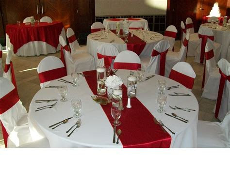 Red Crepe Back Satin Table Runners on White Poly Base