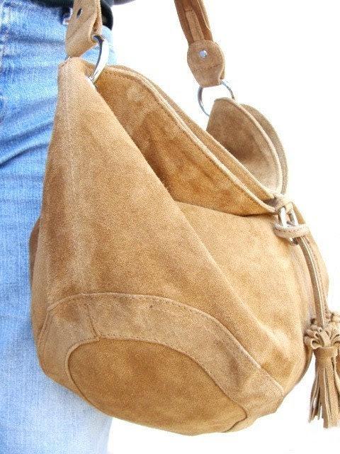 Fanny - Suede Leather Hobo Shoulder Bag  in Camel
