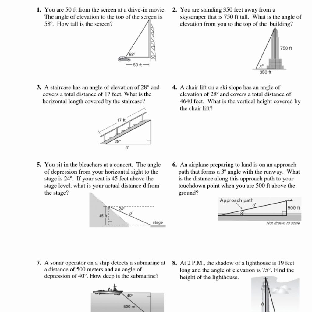 Angle Of Elevation And Depression Worksheets With Answers