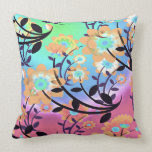 Pretty Abstract Multicolored Flowers Orange Pillow