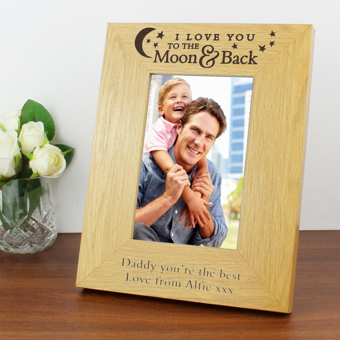 Personalised 4x6 To The Moon And Back Photo Frame Wooden And